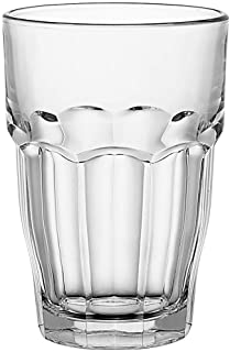 Bormioli Rocco Rock Bar Stackable Beverage Glasses – Set Of 6 Dishwasher Safe Drinking Glasses For Soda, Juice, Milk, Coke, Beer, Spirits – 12.5oz Durable Tempered Glass Water Tumblers For Daily Use