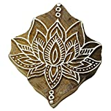 Wooden Textile Stamps Indian Lotus Decorative Border Painting Stamp PB2803A by Knitwit