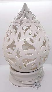 Lampada da tavolo comodino Traforata Bianca Handmade Le Ceramiche del Castello Made in Italy h.32 cm.