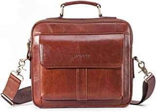 Vintage Men's Messenger Bag Briefcase Shoulder Bag Leather Laptop Bag (28 * 11 * 21CM)