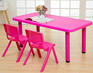 Kids Children Table and Chairs Set  Plastic for Study Activity Garden Indoor Garden Furniture Boys and Girls  Table Chairs  Pink