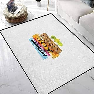Joy Inside Door Mats 5x6 ft Inspirational Quote Finding Joy in Ordinary Trees with Bird Environment Design Print Non-Slip Floor Mat Doormats