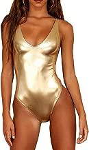 YAUASOPA Sexy Liquid Metallic Glitter One Piece Push Up Swimsuit Female Shiny Solid High Cut Beachwear