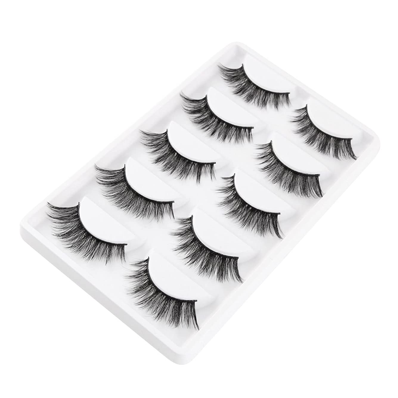食堂ハンディランドリーT TOOYFUL 睫毛のエクステンションのために5組の3d天然の柔らかい厚いのまつげまつげ