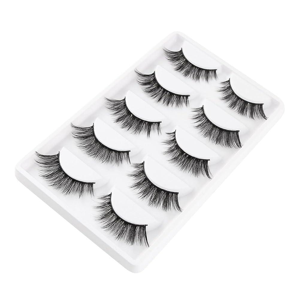 軍隊生活復活するT TOOYFUL 睫毛のエクステンションのために5組の3d天然の柔らかい厚いのまつげまつげ