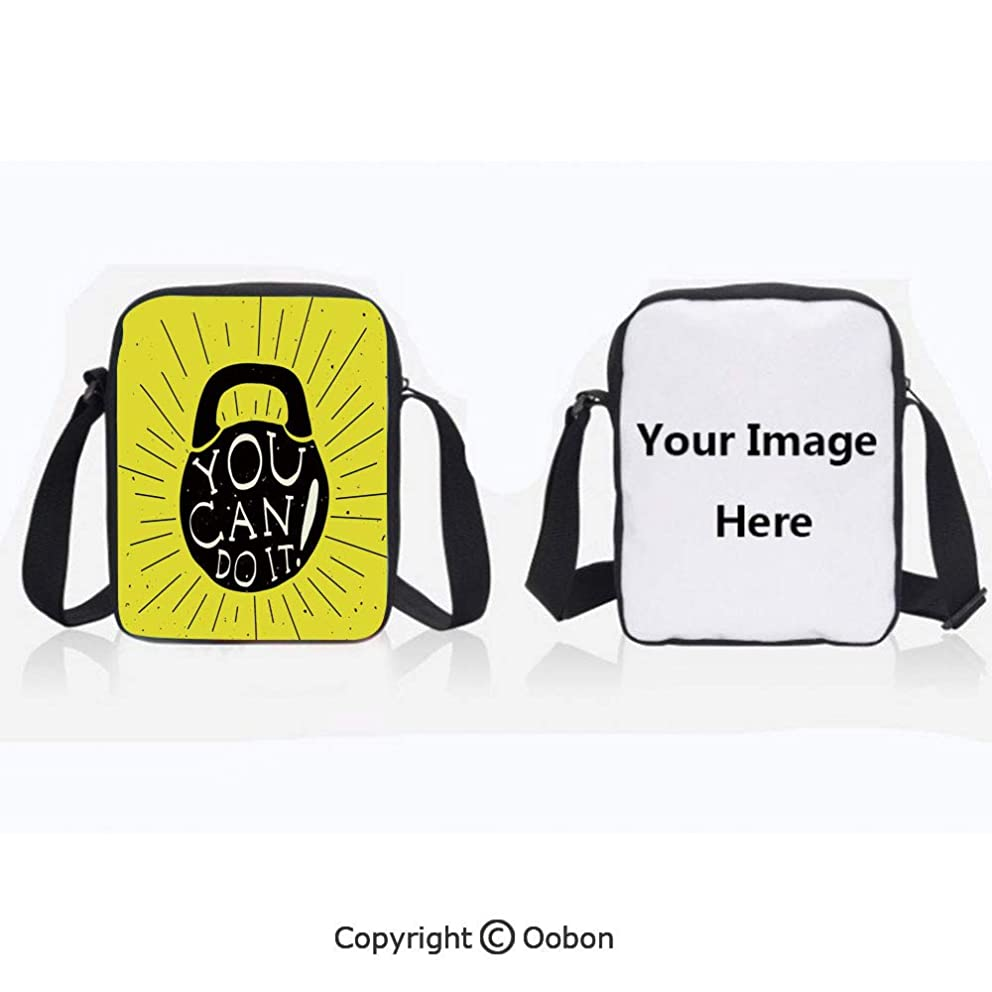 Polyester Anti-Theft Everything Crossbody Bag Unisex Teen Weight Kettlebell Figure Hand Drawn with You Can Do It Motivational Message Decorative Yellow Black White Lightweight Zipper Multi-Pocketed T