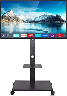 "UNHO Mobile TV Stand Floor Standing, Tilt TV Pedestal Stand Wheels TV Trolley for 32""-65"" LCD LED Flat Screen Height Adjus..."