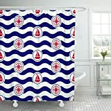 KUKUALE 1 Piece Blue Maritime Mood Nautical Pattern and Waves Navy Shower Curtain Polyester Set with Hooks 180X180Cm(71X71In)