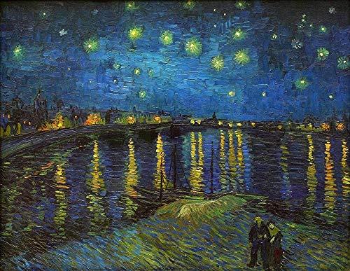 WXLSL Puzzles Rompecabezas De Madera, Noche Estrellada sobre El Ródano Vincent Van Gogh Puzzle De 1000 Piezas