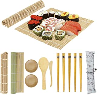 Sushi Making Kit Bamboo Sushi Mat - 2 Sushi Roller Mats, 1 Rice Paddle, 1 Rice Spreader, 5 Pairs Chopsticks, 2 Plates and ...