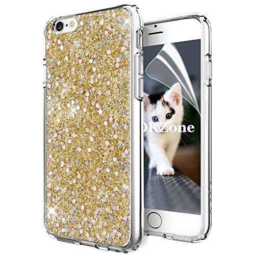 OKZone Coque iPhone 6S Plus,Coque iPhone 6 Plus, Mince Étui en Silicone Souple Paillette Strass Brillante Glitter de Luxe,TPU Housse Etui de Protection pour Apple iPhone 6 Plus/iPhone 6S Plus (Or)