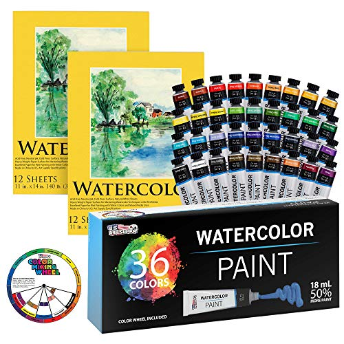 Bundle with U.S. Art Supply Professional 36 Color Set of Watercolor Paint in Large 18ml Tubes & 11' x 14' Premium Heavy-Weight Watercolor Painting Paper Pad, 60 Pound (300gsm), Pad of 12-Sheets 2-PK