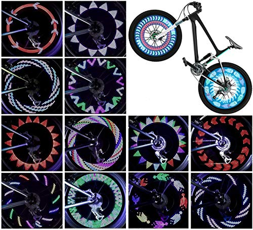 Bicycle Wheel Lights (2-Tire Pack), LED Waterproof Bike Spoke Lights, Safety Ultra Bright Bike Tire Lights 14 LED 30 Patterns, Cool Bike Accessories for Adults Kids, Easy to Install