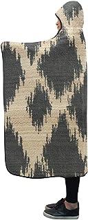 Hooded Blanket Ikat Diamond Pattern Rug Marrakesh Y Detail Blanket 60x50 Inch Comfotable Hooded Throw Wrap
