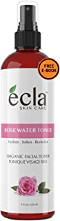 Rose Water Spray Mist Toner (4 Oz 120 ml) for Face Eyes Skin and Hair - 100% Pure Organic Moroccan Rosewater Facial Toner ...