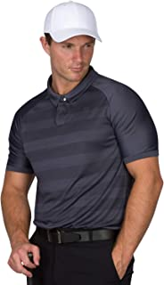 Golf Polo Shirts for Men - Dry Fit Collared Golf Polos - Lightweight and Breathable, Stripe Design