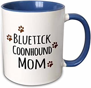 3dRose (mug_154077_6) Blue tick Coonhound Dog Mom - Doggie by breed - brown muddy paw prints - doggy lover mama - pet owner - Two Tone Blue Mug, 11oz