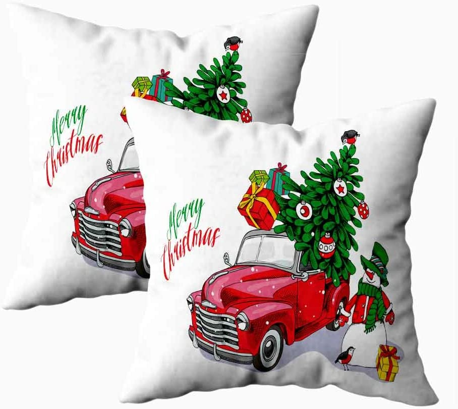 Asdecmoly Sofa Pillow Cases Decorative Pillowcase Pack Of 2 Christmas Card Red Retro Truck Fir Tree Gifts Snowman Cover For Kids Throw Cushion Square 18x18 Inchs Home Sofa Bed Home