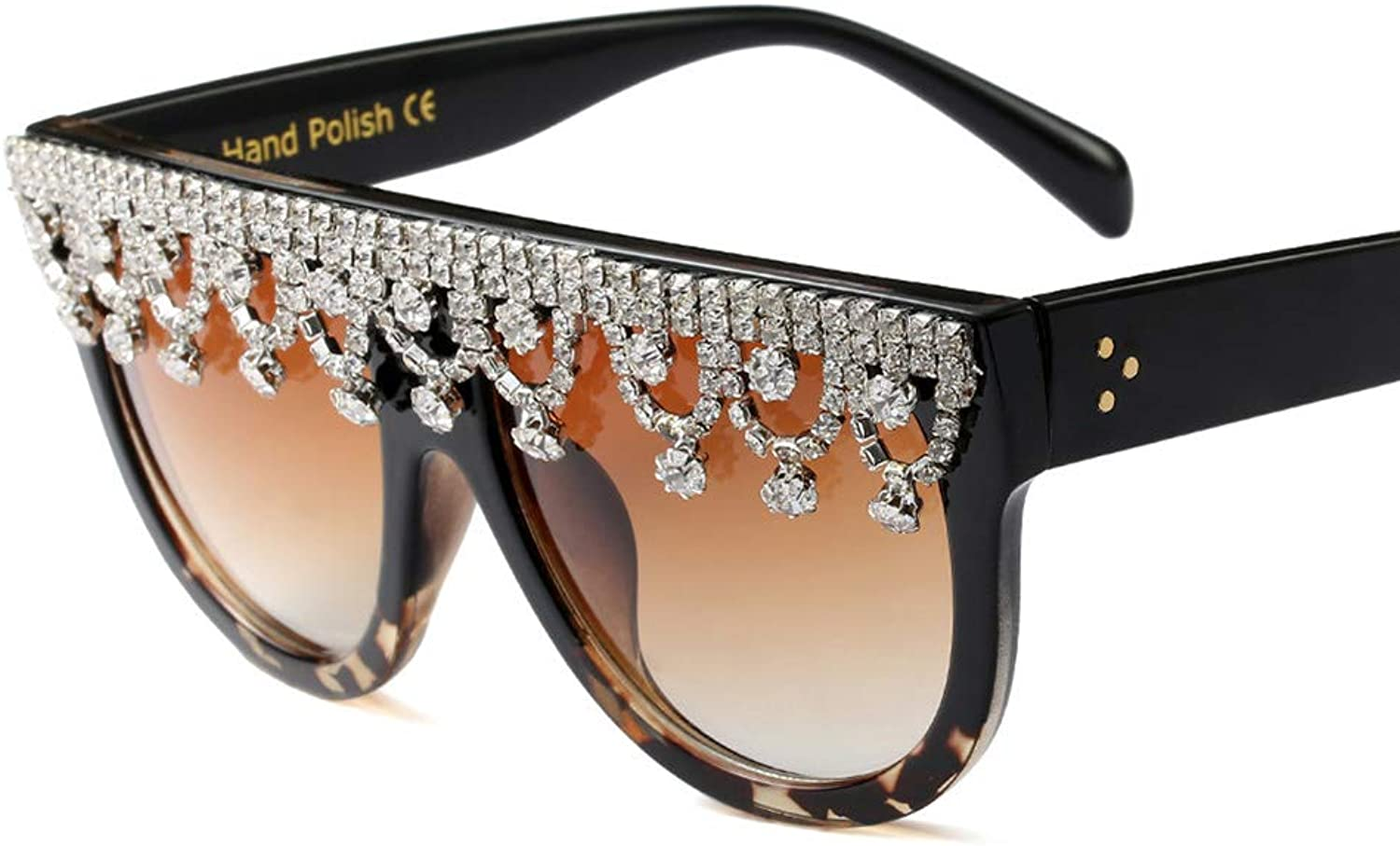 Womens's Large Frame Sunglasses,Rhinestone Decorated Eye Glasses Inspired, Gradient Mirrored Lens Gifts for Women,UV400 Predection Driving Eyewear,Blackleopard