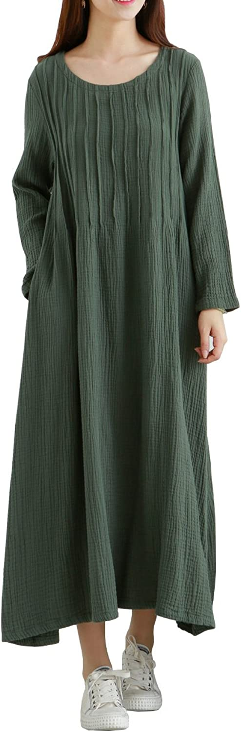 LifeShow Women's Casual Loose Long Sleeves Spring Fall Maxi Cotton Linen Dresses with Pockets