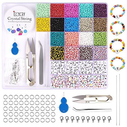 ZWOOS 9400 Piezas Cuentas de Colores 2mm Mini Cuentas Abalorios Cristal y...