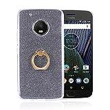 Funda® Anillos Soporte Funda Carcasa Case Cover Caso para Motorola Moto G5 Plus/Lenovo Moto G5 Plus (Negro)