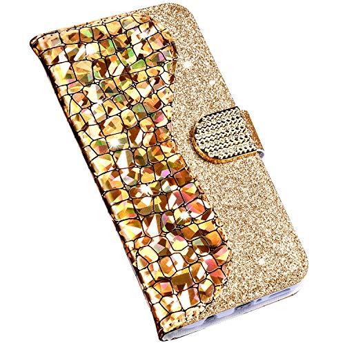 Jinghuash Kompatibel mit Xiaomi MI A2 Lite Hülle HandyHülle Premium PU Leder Handytasche 3D Bling Glitzer Diamant Strass Lederhülle Wallet Flip Case Klapphülle Tasche Etui Schutzhülle-Gold