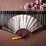 Ventiladores japoneses Caja de ventilador plegable Misterioso corredor interior con marco de bambú Borla Colgante y bolsa de tela Ventilador de mano Ventilador chino de lujo Ventilador de mano Lindo