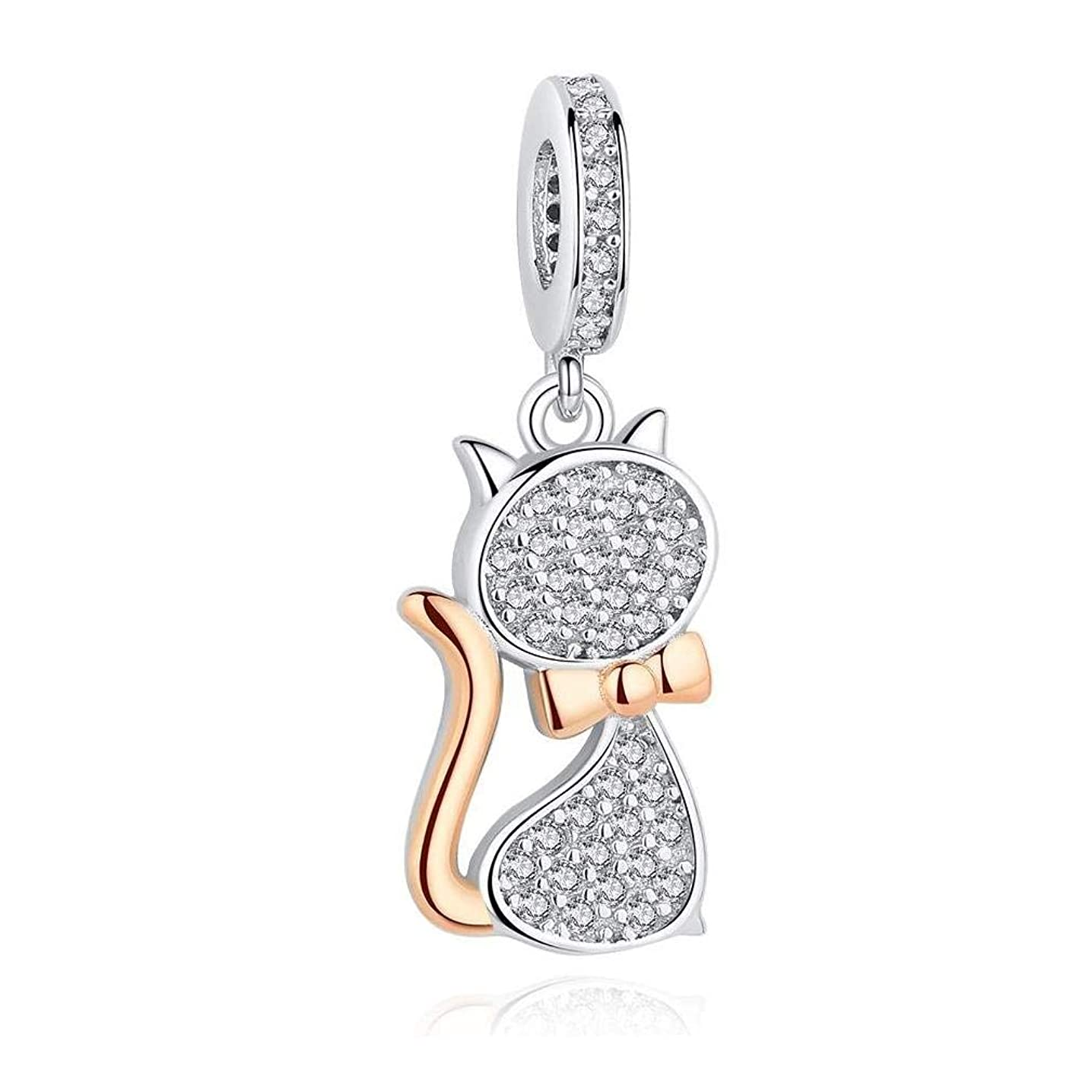 MIADEAL Cat Charm, Sterling Silver, Pandora Compatible Hanging Pendant Charm