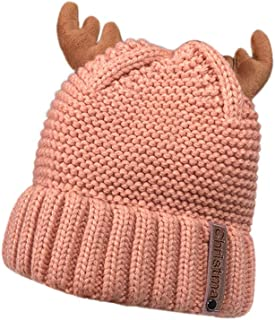 KASAAS Womens Autumn Winter Cashmere Xmas Antler Cute Hat Knitting Wool Keep Warm Christmas Hats