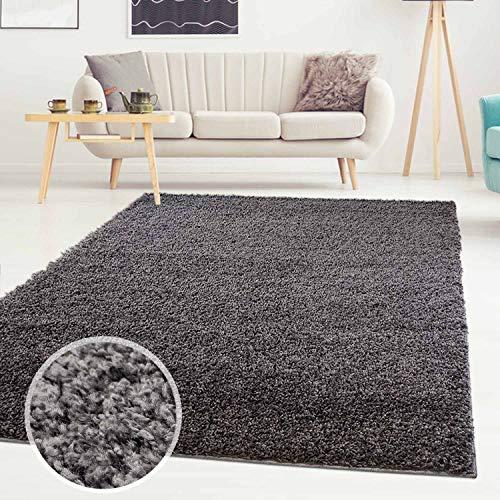 ayshaggy Shaggy Teppich Hochflor Langflor Einfarbig Uni Dunkelgrau Weich Flauschig Wohnzimmer, Größe: Läufer 80 x 300 cm