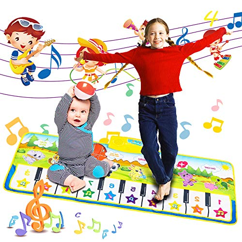 Nakeey Kinder Spielzeug Musik Matte Piano Matte Keyboard Matte Klaviermatte Tanzmatte Musikmatten Baby 110 * 36cm, Keyboard Musik Spielteppich 5 Modi & 8 Spielzeug Touch Musical Teppich
