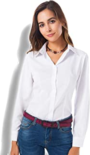 Womens Basic Long Sleeve Button Down Shirts Simple Pullover Stretch Formal Casual Shirt