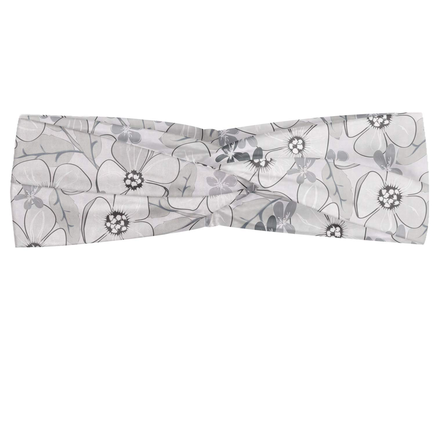 Ambesonne Floral Headband, Abstract Sketchy Hand Drawn Garden Spring Flowers with Grey Backdrop Image, Elastic and Soft Women's Bandana for Sports and Everyday Use, Pale Grey and White