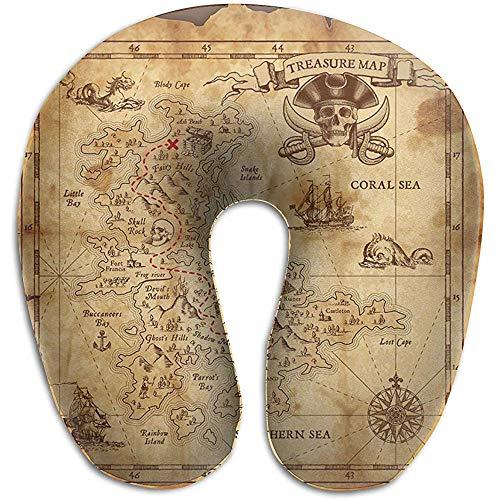 Warm-Breeze U-förmiges Kissen Nackenkissen Reisekissen Flugzeugkissen Treasure Hunt Map Grungy Rustic Pirate Golden Secret