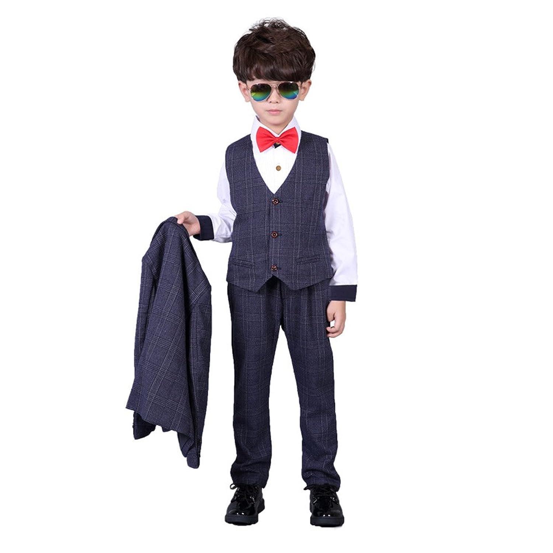子供服 チェック柄 フォーマルスーツ 男の子 紳士服 七五三 誕生日 入園式 フォーマル 洋服 四セット (130cm, ブルー)