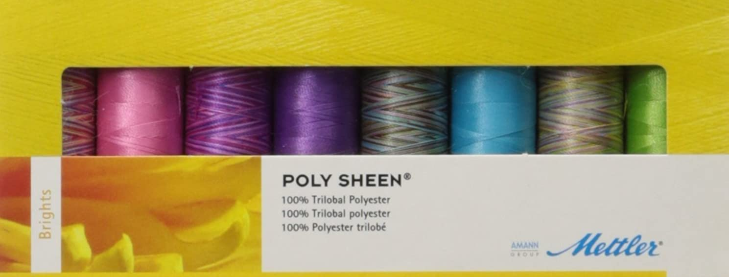Mettler Thread Poly Sheen Sewing Set; 8 Spools BRIGHTS Color Collection - 200m / 220yds