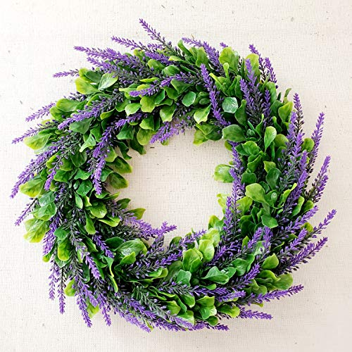 Artificial Greenery Lavender Wreath 15.7 inch for Front Door Wall Home Decor (Lanvender)