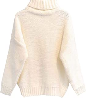 Women's Solid Pullover High Neck Chunky Cable Knit Casual Long Sleeve Sweater Knitter