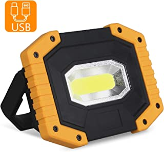 T-SUN COB LED Work Lights, 30W Rechargeable Portable Flood Light with USB, Waterproof LED Lantern 3 Modes for Car Repairing, Camping, Hiking, Emergency Security Lights, 1 Pack(Battery Not Included)