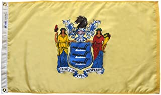 Annin Flagmakers Model 143660 New Jersey State Flag 3x5 ft. Nylon SolarGuard Nyl-Glo 100% Made in USA to Official State Design Specifications.