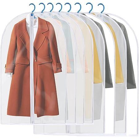 Housses de Vêtements, GEEDIAR Lot de 8 Lavable Transparent Etanche Anti-Poussière Housses de Protection Pour Chemise/ Costume/ Manteaux, Sac de Vêtement avec Zip (4pcs 60*100cm+4pcs 60*120cm)
