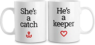 LIFVER Funny Couple Mugs 16 Ounces, Christmas Gifts Coffee Mug for Him and Her, Wedding Gift for Bride and Groom, Anniversary Gifts for Husband and Wife, Set of 2, White