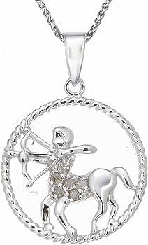 Sterling Silver Zodiac Pendant 1/8 cttw Diamond Necklace