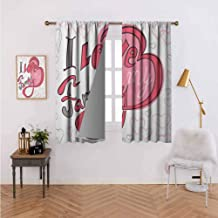Family Blackout Draperies/Drapes for Window Abstract Design with Pretty Hearts I Love My Family Swirled Shaped Cartoon Like Light Filtering, Privacyfor Kitchen Windows 72
