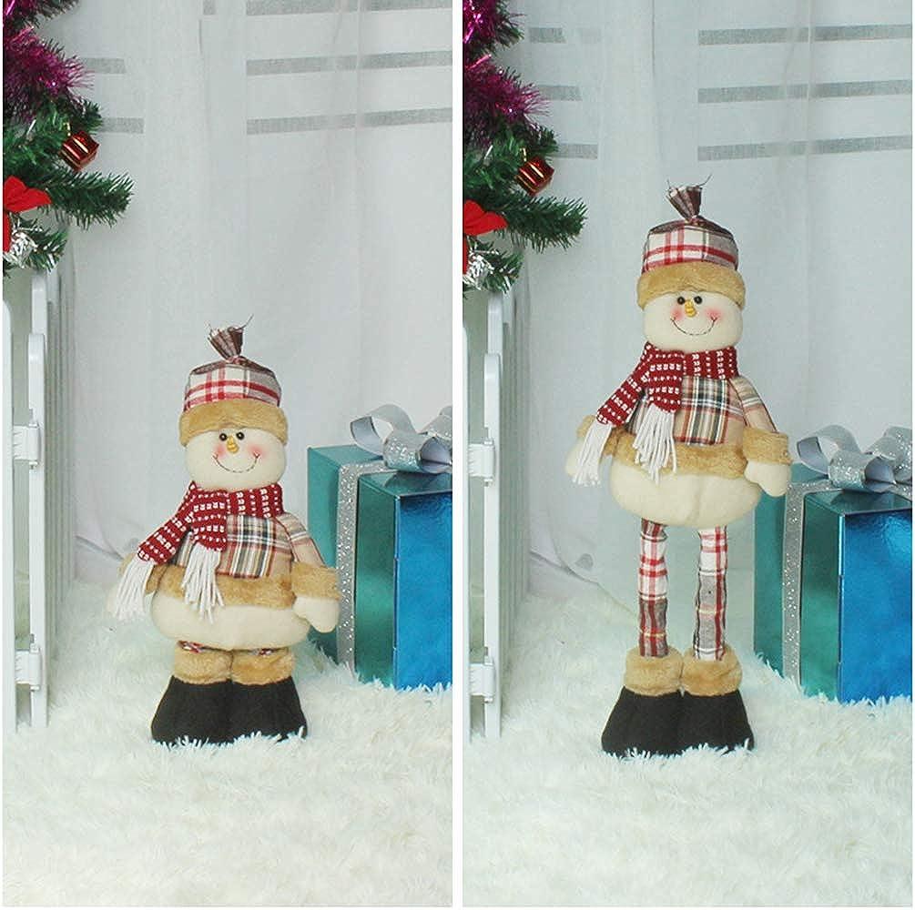 Large Christmas Doll Figurine 20 Adjustable Telescopic Christmas Figures Decorations Christmas Standing Dolls Santa Claus Figurine Snowman Elk Doll Ornaments with Telescopic Legs Winter Table Decor