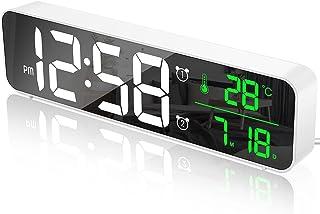 MOSUO Réveil Numérique, Horloge Murale Réveil Matin LED Digital Miroir Grand Ecran avec Température Date, 2 Alarme, 40 Mus...