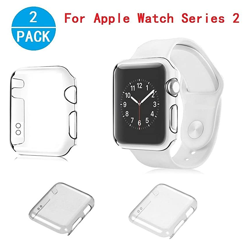 Apple Watch Series 2 Case, Haoos [Ultra-Thin] Slim Clear PC Hard Screen Protector Protective Cover [2 Color Combination Pack] for Apple Watch Series 2 iWatch 2016 (Series 2 42mm PC Hard Case)