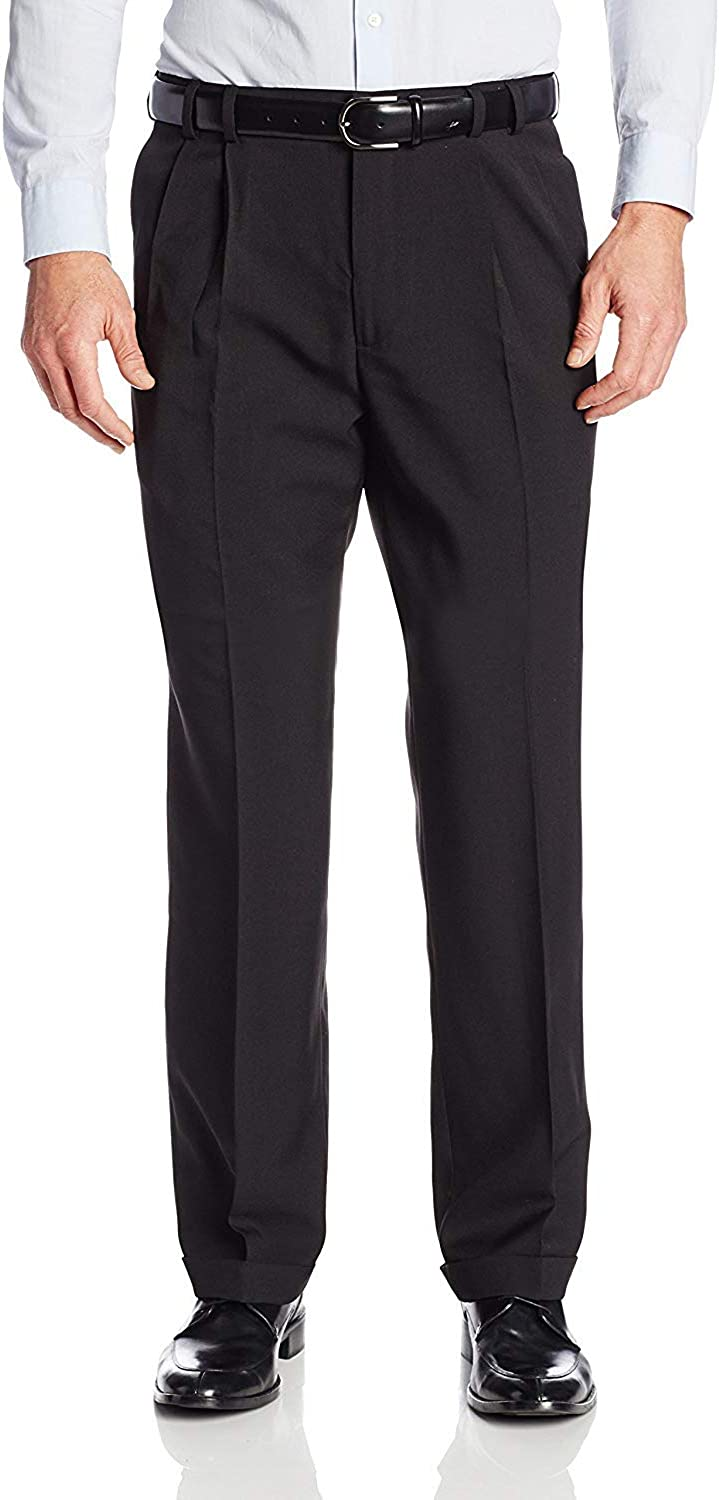 Van Heusen Men's Big and Tall Stretch Traveler Cuffed Crosshatch Pleated Pant