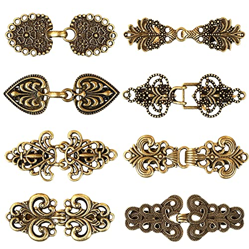 8 Pieces Vintage Cardigan Clip Shawl Clips Retro Cloak Sweater Clips Antique Swirl Collar Clip Clasps Alloy Celtic Brooch Clips for Women